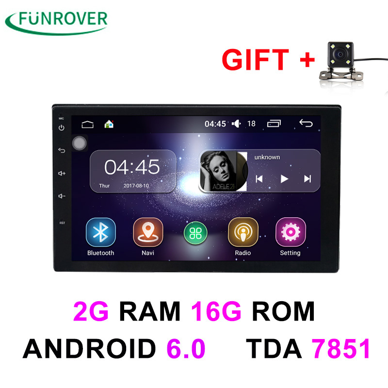 2 Double Din Universal Car Radio dvd player Stereo 2G+16G  7 Inch Android 6.0 In-dash Autoradio gps navigation Quad-Core BT FM 6 2 inch 2 din in dash car dvd player gps navi system for old toyota universal vios rav4 collora sequoia yaris hiace highlander