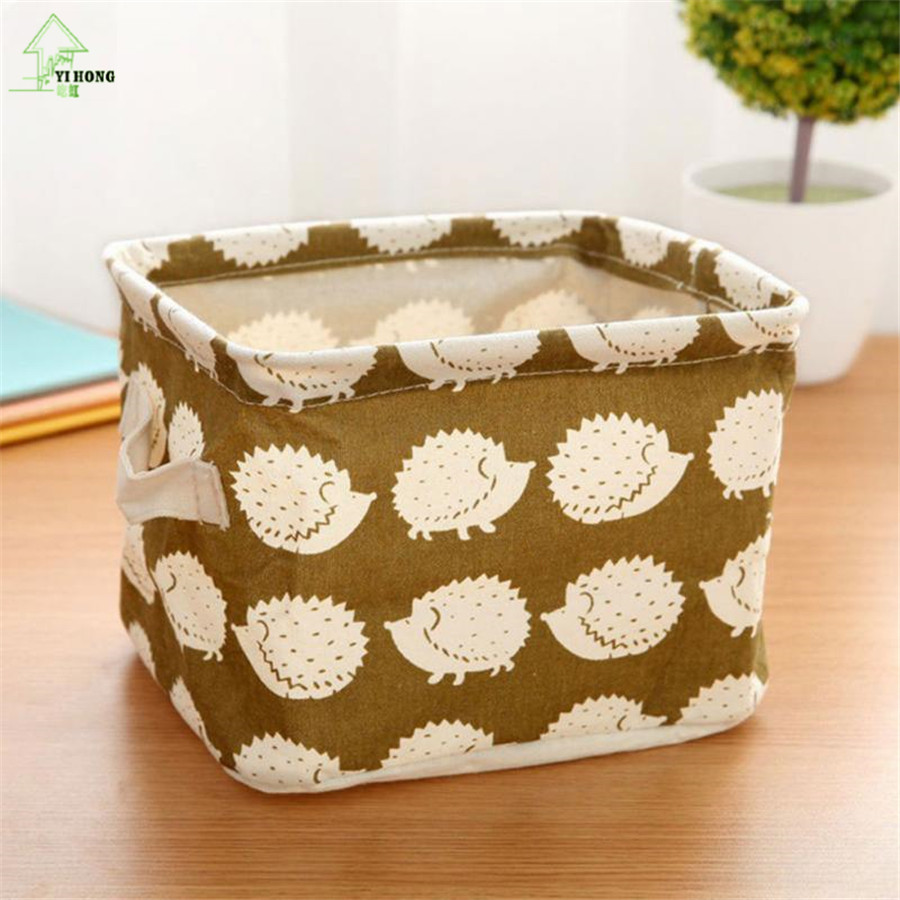 YI HONG Hot Sale Cute Linen Desk Storage Box Holder Jewelry Cosmetic Stationery Organizer Case A1076c