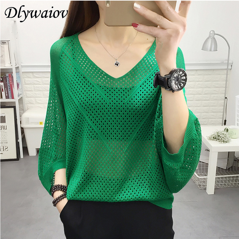 Sexy Women Knitted Pullover Mesh Hollow Sweater Female 2019 Spring Fashion Tops Bat Half Sleeve Solid Casual Loose Shirt Summer