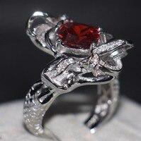 卸売プロのファッションジュエリー925スターリングシルバークッション形状赤5a czジルコニアパーティー女