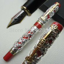 Jinhao Long Feng heavy silver red Chinese Classical luck clip Dragon fountain pen free shipping