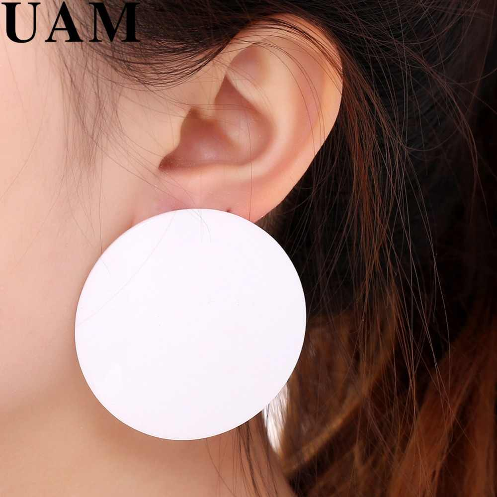 UAM Oversize Big Round Stud Earrings For Women Geometric Circle Earrings European Hot Drop Shipping Acrylic Brincos Pentients