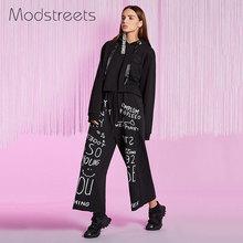 2017 Cotton Wide Leg Pants Elegant Tailored Black Flare Elastic Waist Pants Letter Graffi Print Fly Casual Trousers Loose Pants