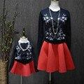 Осень и зима мода вышитые семья родитель-ребенок свитер девочка родитель-ребенок вязаный кардиган clothing свитер