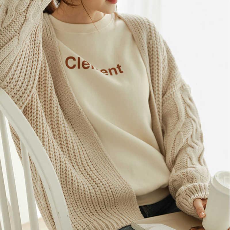 2019 jesień kobiety swetry rozpinane Casual z długim rękawem luźny dzianinowy kardigan moda jednolita odzież wierzchnia harajuku dla kobiet wąski