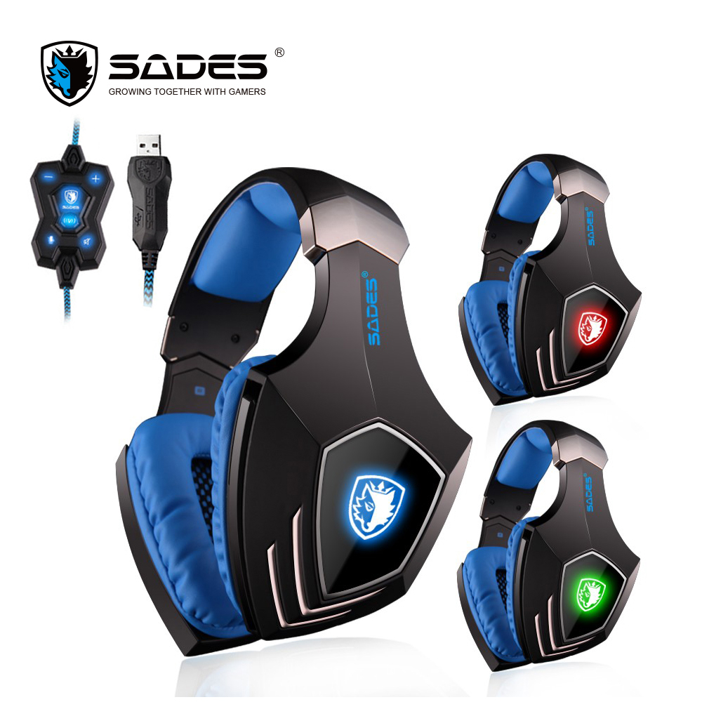 SADES A60 7.1 Surround Sound Headphones Vibration Bass Gaming Headset USB Computer Earphones with Mic and Switch