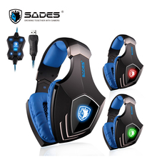SADES A60 7 1 Surround Sound Headphones Vibration Bass Gaming Headset USB Computer Earphones with Mic