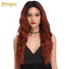 Ebingoo Copper Red Ombre Dark Roots Synthetic Lace Front Wigs Long Water Wave Baby Hair For Women Heat Resistant Futura Fiber все цены