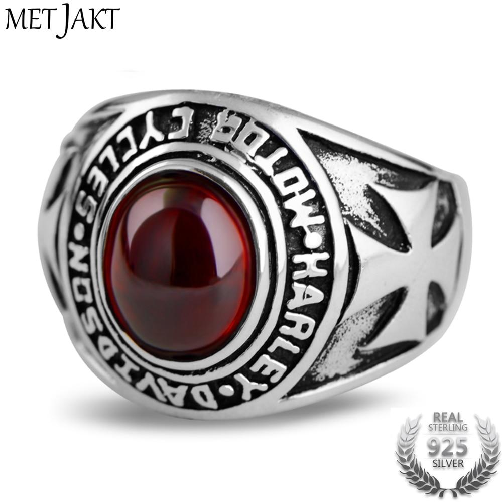 MetJakt Vintage Real 925 Sterling Silver Garnet Ring with Hand Carved Crusader Flowers Pattern Rings for