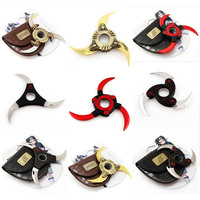With Leather Cover Naruto Kunai Shuriken Cosplay Weapon Toy 2016 New Naruto Hokage Cosplay Weapon Rotate