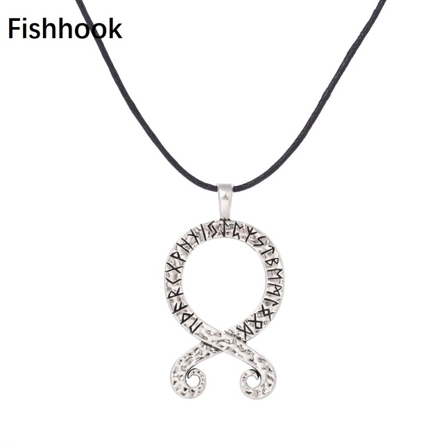 Fishhook Cross With Viking Runes Pendant Norse Swedish Folklore Amulet For Men and Women Adjustable Chain Vintage Jewelry