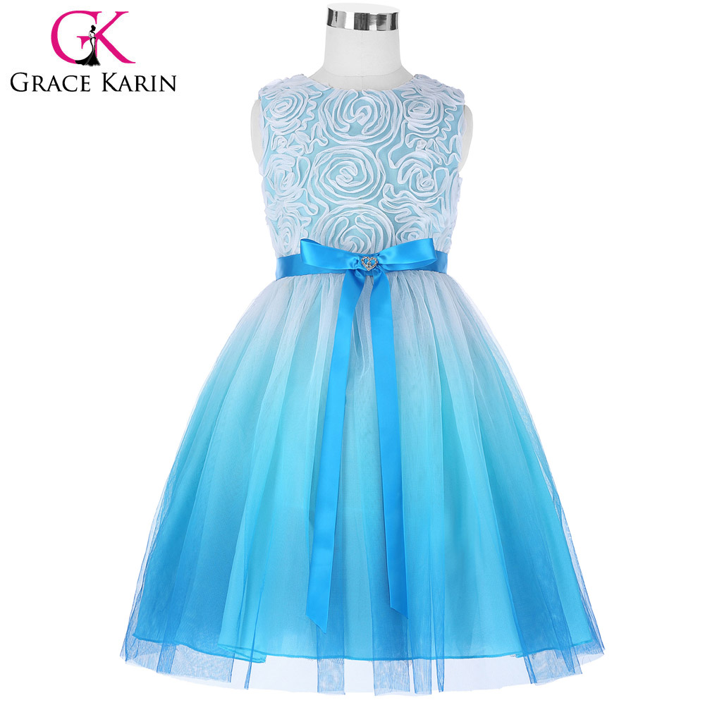 Grace Karin Tulle Netting Rosette Flower Girl Dresses Long Blue Princess Kids Children Wedding ...