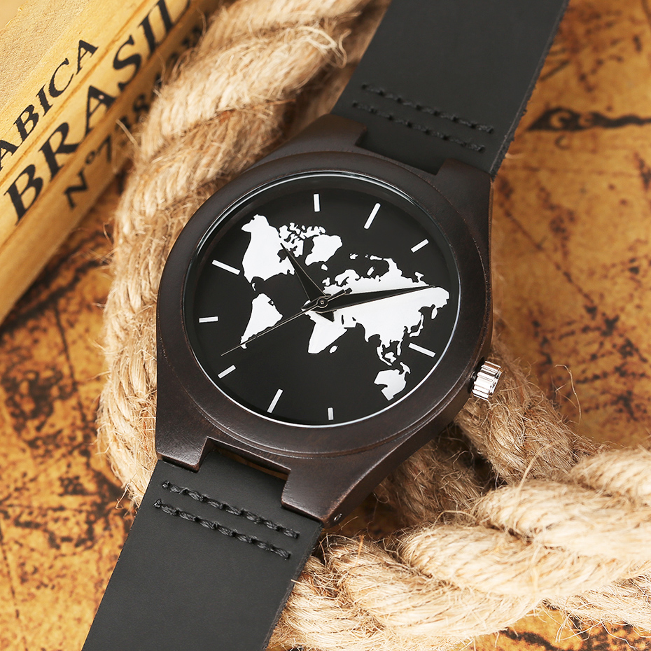 2017 Fashion Nature Ebony Wood Watch Mens World Map Handmade Black Quartz Wristwatch Minimalist Classic Bamboo erkek kol saati (11)
