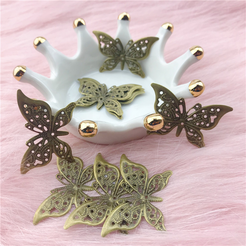 4Pcs Tibetan Silver 1-5 Butterfly Charms Pendants Links Connectors 31x21mm A4419