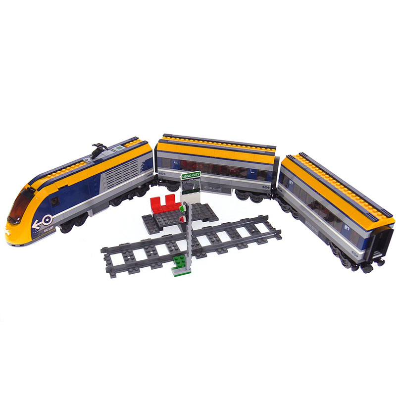 Lepin 02117 City Series The legoinglys 60197 Passenger Train Set Building Blocks Bricks New Car Model Birthday Christmas Gifts