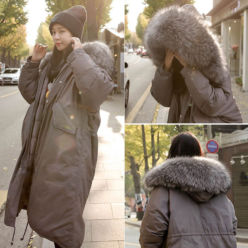 Winter Long Hooded Cotton Padded   Parkas   Women Wadded Jacket Large Fur Collar Cotton Warm Female Outwear Thick Coats KLD1267