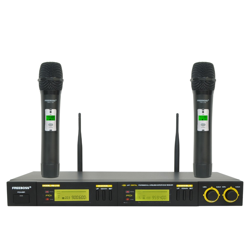 Freeboss FB-U12 UHF Wireless Microphone System 2 Way 100 Channels IR Frequency Wireless Mic Karoke KTV Party Dynamic Microphone bardl us 132 2 channels uhf infrared frequency lcd 200 frequency adjustable wireless microphone handheld lavalier headset