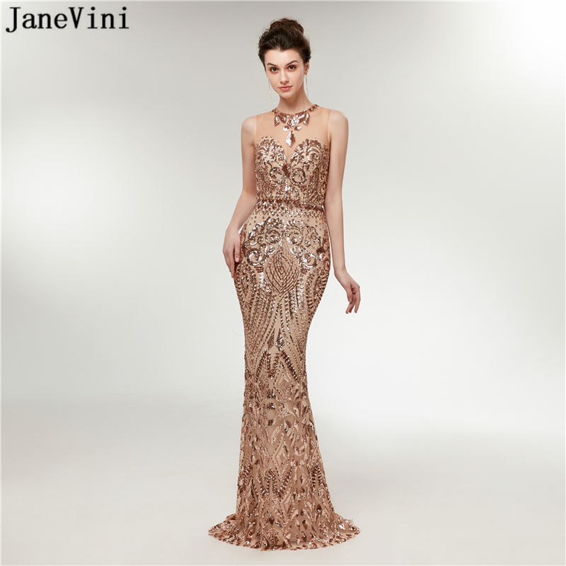 JaneVini 2018 Sparkly Gold Sequined Long   Bridesmaid     Dresses   Plus Size O Neck Sleeveless Mermaid Floor Length Formal Prom Gowns