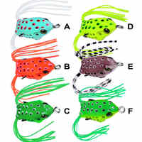 6pcs 4.1cm/4.5g Fishing Lure Bass Soft Plastic Frog Bionic Bait Crankbait Topwater Swimbait Fish Tackle Double Hide Barbed Hook
