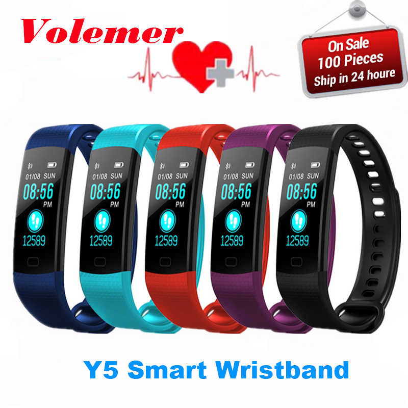 Volemer Y5 Smart Band Watch Color Screen Wristband Heart Rate Activity Fitness tracker Smartband Electronics Bracelet PK QS90 goral y5 smart bracelet 0 96 inch tft color screen