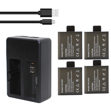 4Pcs PG1050 1050mAh Camera Rechargable Batteries+ Dual Charger ForAction Camera SJCAM EKEN H9 H9R H3 H3R H8PRO H8R H8 Battery