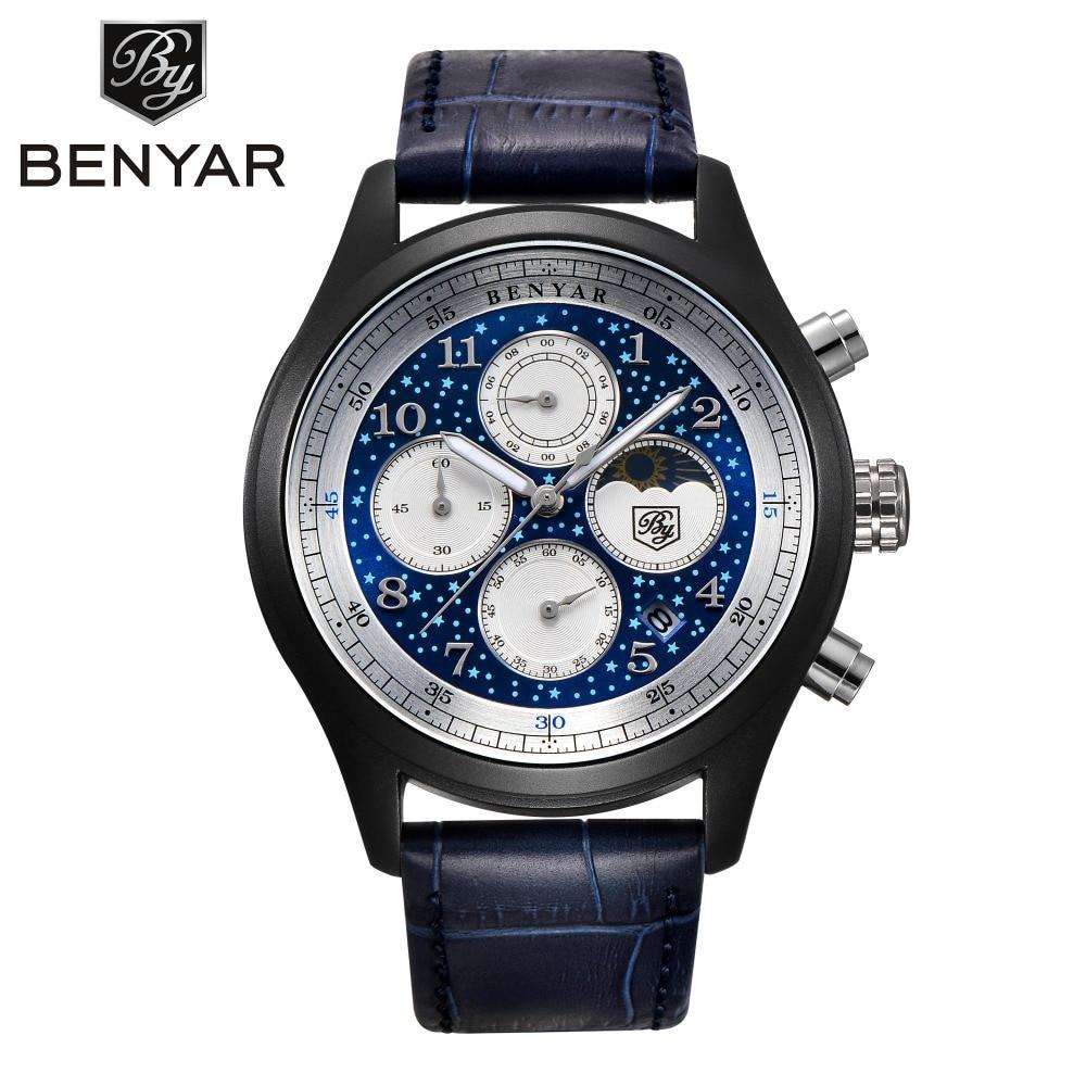 BENYAR Fashion Casual Black Leather Quartz Watch Men Wristwatches Chronograph Auto Date Moon Phase Watches Relogio BY-5122M benyar moon phase chronograph watch men