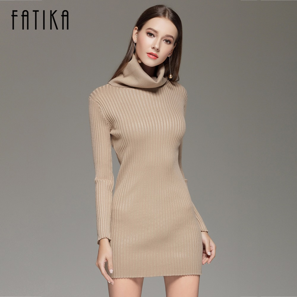 FATIKA Turtleneck Long Knitted Sweater Dress F1508