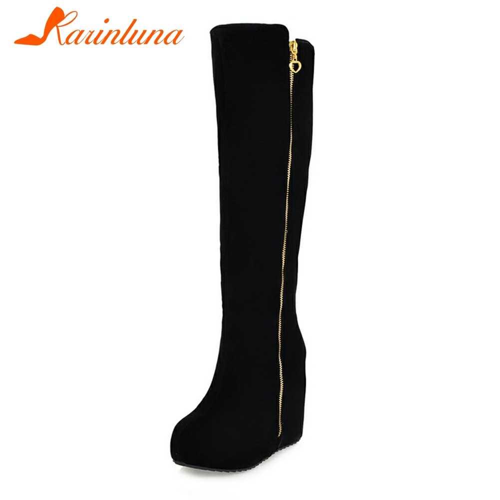 KARINLUNA yeni bayanlar takozlar yüksek topuklu Zip katı yuvarlak ayak platform ayakkabılar kadınlar için rahat kış diz yüksek çizmeler büyük boyutu 32-43