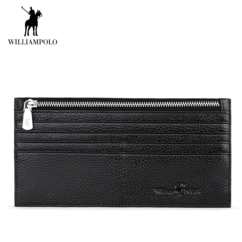WilliamPOLO Men's Wallet Genuine Leather Ultra-thin Envelope Handbag Travel Clutch Credit Card Holder Multi Card Phone Purse 156 ultra thin colorfulcascading pull out card holder wallet