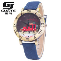 Guote Vintage Fashion Watch Women Popular Elegant Color Leather Strap Retro European Carriage Roman Number Casual