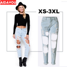 Boyfriend hole ripped jeans women pants Cool denim vintage straight jeans for girl Mid waist casual pants female ouc715 distressed boyfriend hole ripped jeans women pants cool denim vintage straight jeans for girls mid waist slim casual pants e0982