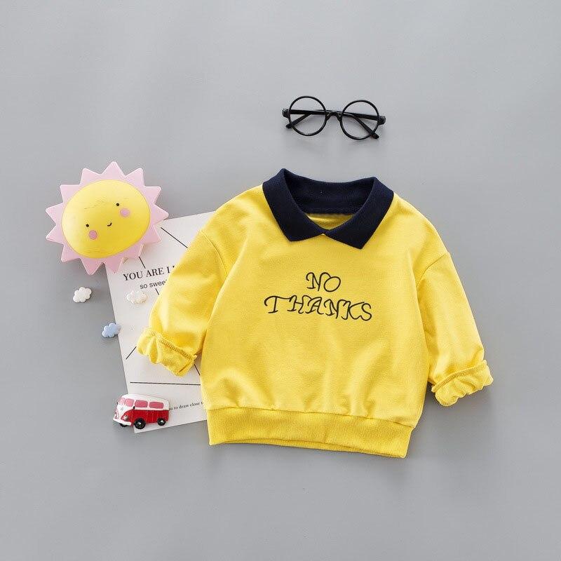 2019 Neue Frühling Herbst Kinder Kinder Baby Kleinkinder Jungen Nette Baumwolle Brief Druck Grundlegende T-shirts Pullover C2002