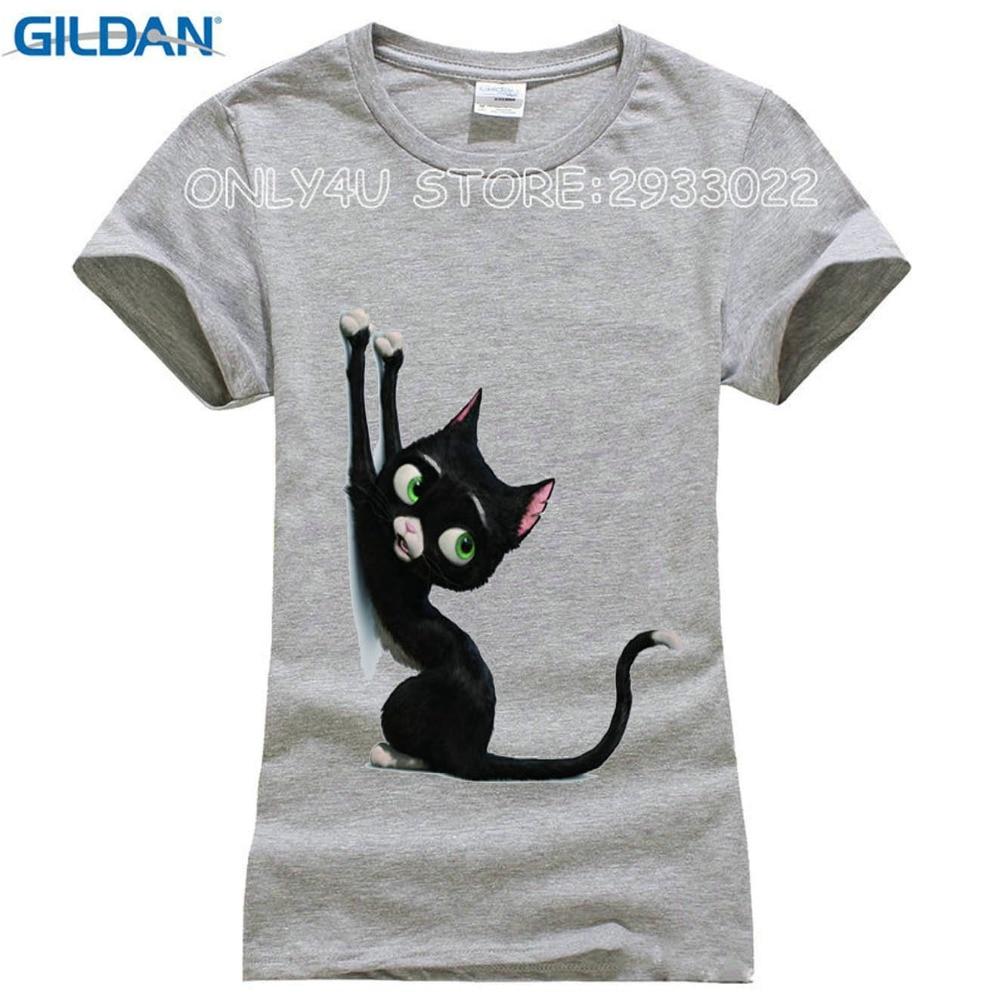 GILDAN Cartoon elegent black cat 3D T shirt women super cute