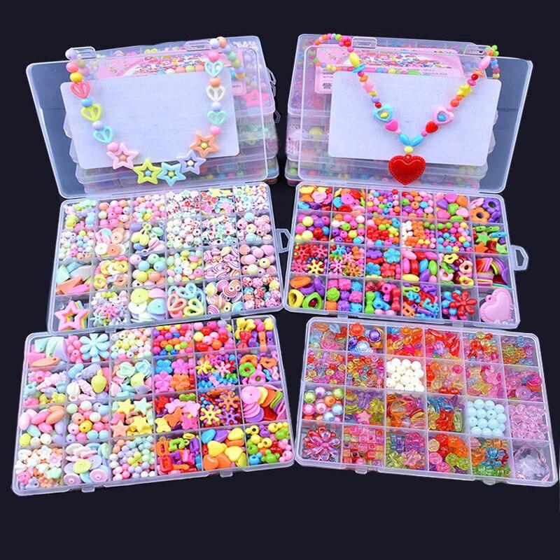 Diy Beads Toys For Children Handmade Necklaces Bracelets Jewelry Making Beads Kit Set Girl Educational Toys Perles Pour Enfant