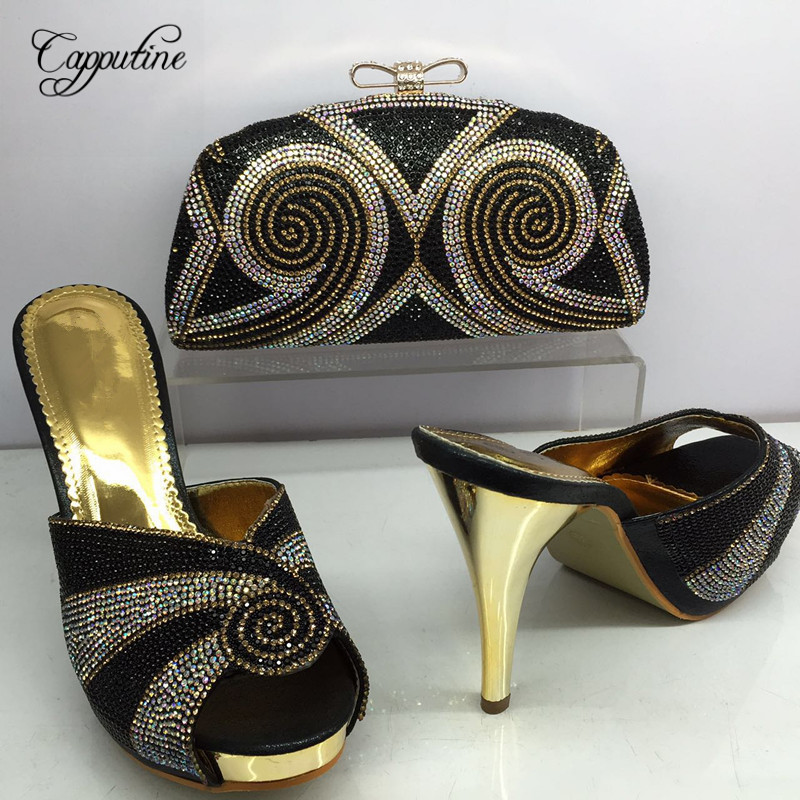 Capputine New Coming African Sandals Shoes and Bags To Match Set Italian Matching Spike Heels Shoes And Bag Set For Party BL625C good selling african women shoes and bag set fashion shoes heels 9cm italian shoes and bags to match for party as1 4