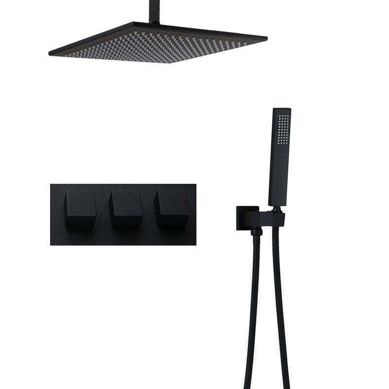 Черный латунный Смеситель для душа 8 16 дождевая душевая головка набор для душа для ванной комнаты смеситель клапан Душевая система скрытый