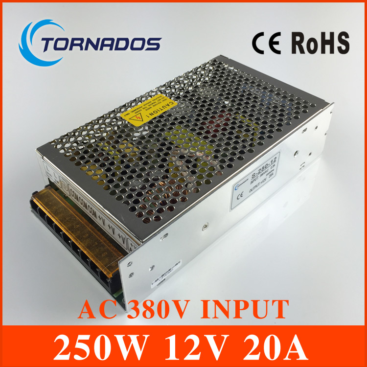 AC 380V input 12V 20 output 250W switching power supply of high reliability industrial switch power supply AC-DC  ConverterAC 380V input 12V 20 output 250W switching power supply of high reliability industrial switch power supply AC-DC  Converter