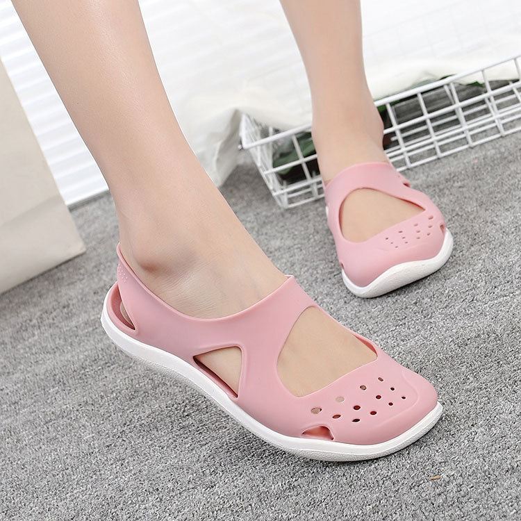 HTB1Ajh6bzzuK1RjSsppq6xz0XXan - Women's Sandals Fashion Lady Girl Sandals Summer Women Casual Jelly Shoes Sandals Hollow Out Mesh Flats Beach Sandals