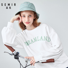 SEMIR Hoodies women 2019 autumn new loose sweatershirt letter print pullover Korean version oversized cotton