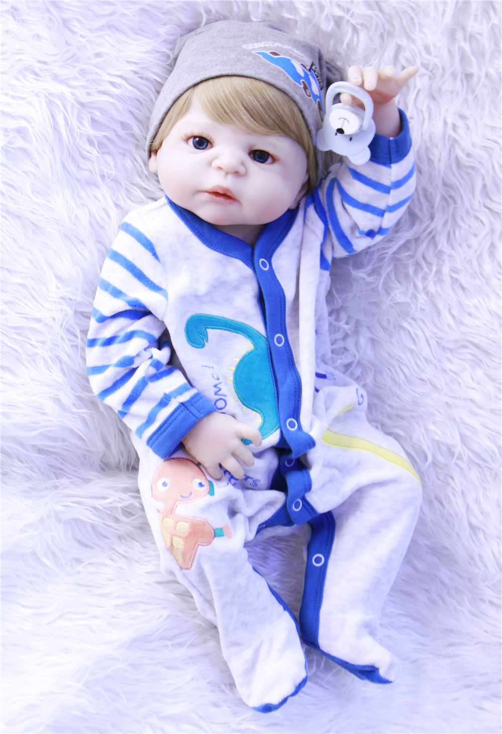 Full silicone reborn baby boy girl dolls 22NPK brand bebes reborn soft touch real true looking blond hair bonecas rebornFull silicone reborn baby boy girl dolls 22NPK brand bebes reborn soft touch real true looking blond hair bonecas reborn