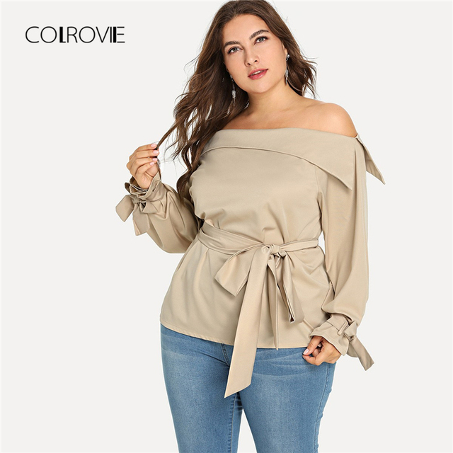 01d26c049a31e COLROVIE Plus Size Apricot Work Knot Long Sleeve Blouse Shirt Women Clothes  2018 Autumn Streetwear Womens Tops And Blouses