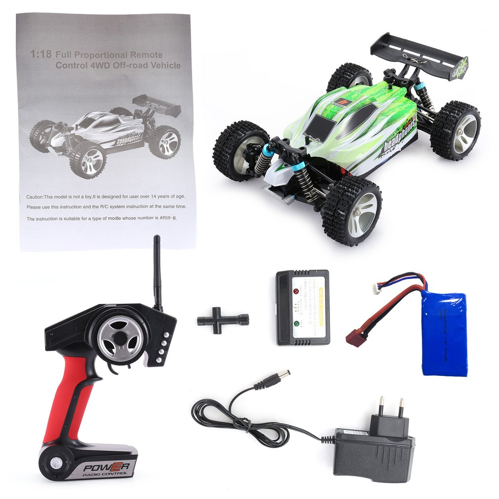 WLtoys RC Speedcar A959-B 1/18 4WD Off Road RC Car 70km/h 2.4G Remote Control Racing High Speed Car Shockproof Buggy RC Car Toy wltoys 12402 rc cars 1 12 4wd remote control drift off road rar high speed bigfoot car short truck radio control racing cars