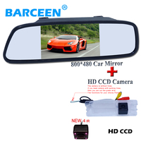2in1 CCD car rear view parking backup camera for Renault Logan Sandero + 5inch car mirror monitor 5inch 800*480 HD