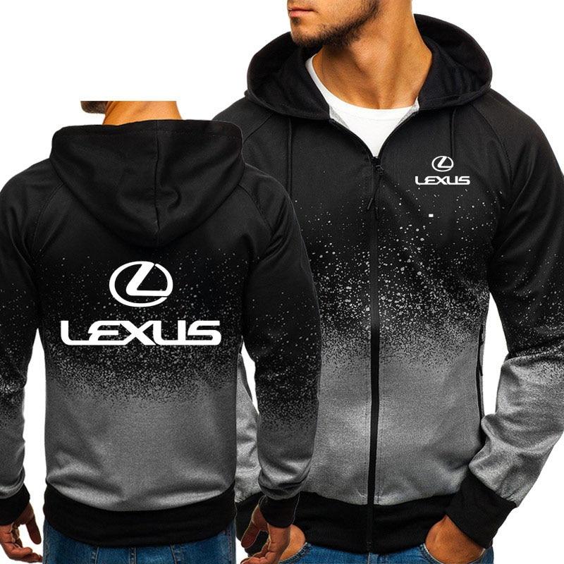 Hoodies Men Lexus Car Logo Print Casual HipHop Harajuku Gradient Color Hooded Mens Fleece Sweatshirts Zipper Jacket Man Clothing