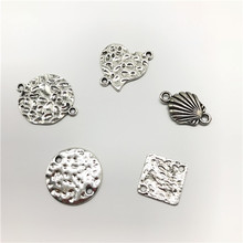 10 Pcs/lot  Zamak Antique Silver Heart Round Double Rings Charms Small Pendants for Making Bracelet Jewelry Diy
