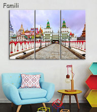 3Pieces City Moscow Russia Kremlin palace city building landscape room home wall modern art decor wood frame poster
