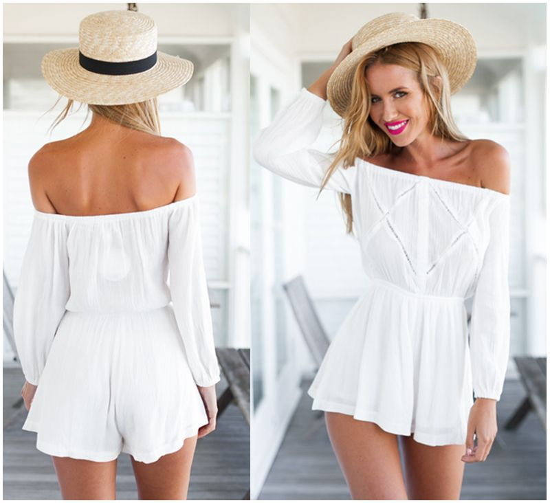 women summer playsuit 2015 hot white playsuits sexy strapless off ...