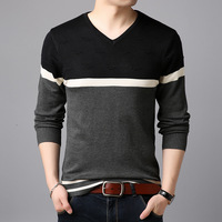 NIANJEEP Sweater Men Arrival Casual Pullover Men Autumn Round Neck Patchwork Mercerized cotton Knitted Brand Male Sweaters