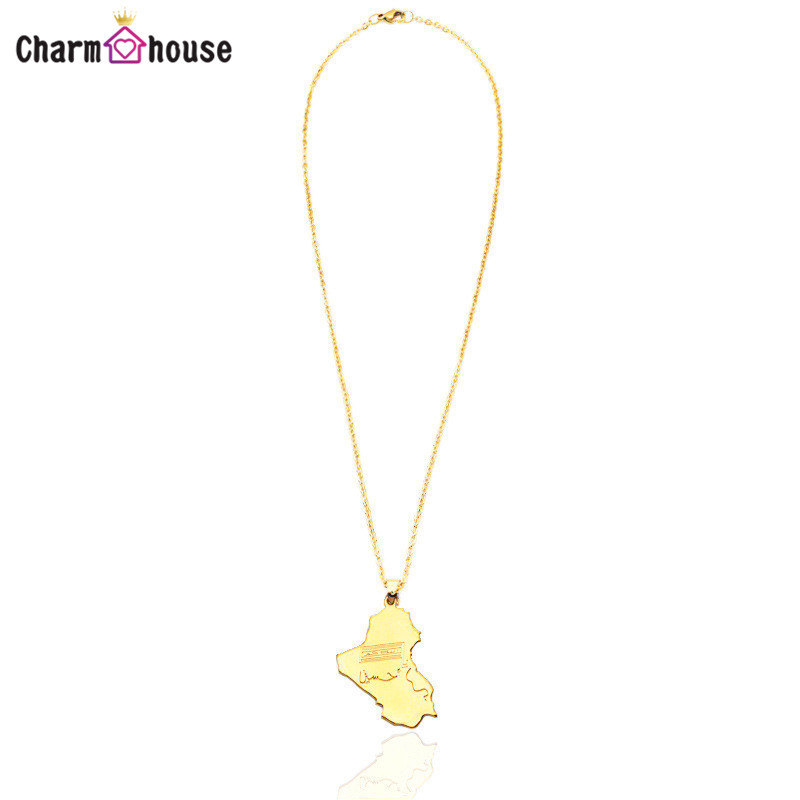 16 Inch Gold Color Necklaces for Women Map of Iraq Pendant Necklace Dubai Gold Jewelry Link Chain Choker Femme Collier Bijoux