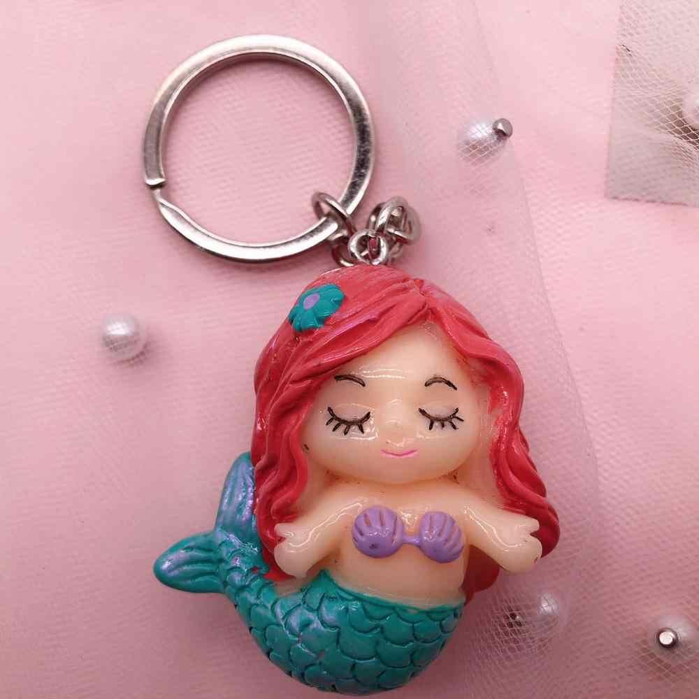2019 ใหม่ 3d เรซิ่นพวงกุญแจ Kawaii Little Mermaid Keyring Charms จี้พวงกุญแจ Charms สำหรับของขวัญ DIY ตกแต่ง